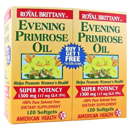 Royal Brittany Evening Primrose Oil (Evening Primrose Oil 1300mg Royal Brittany Twin Pack American Health Products 12)