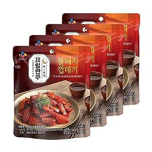 [ 4 Packs ] CJ Bibigo Korean Spicy Pig Skin Stir-Fried Dishes 160g
