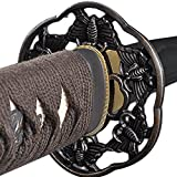 Christmas Sale - Fully Functional Samurai WakizasHi Sword, Butterfly Tsuba, 1045 Carbon Steel, Hand Forged Heat Tempered, Full Tang, Sharp, WHite Scabbard Brown Handle