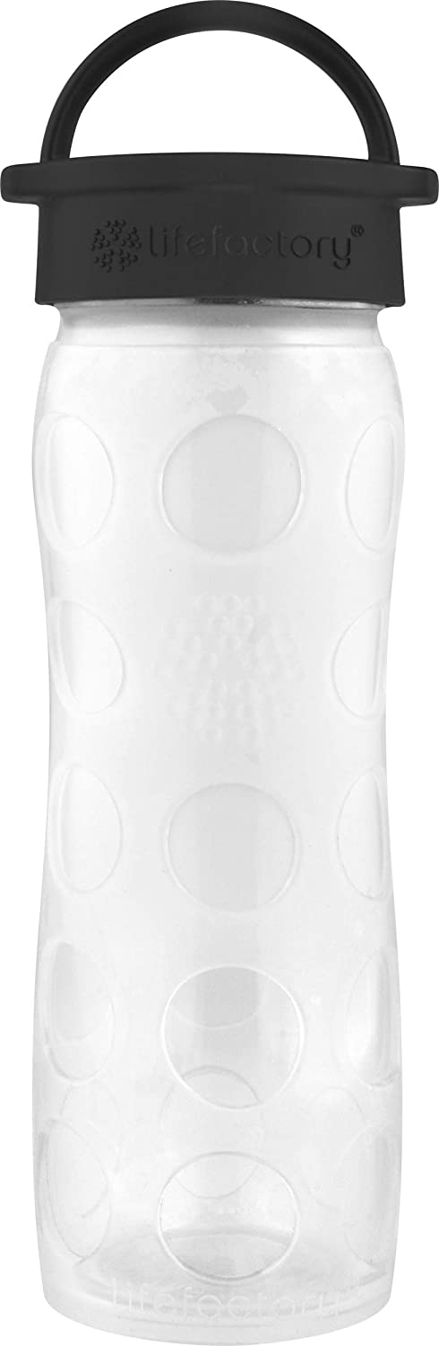 Lifefactory 16-Ounce BPA-Free Glass Water Bottle with Classic Cap and Protective Silicone Sleeve, White Ombre