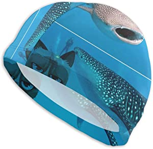 AKLID Ocean Diving Shark Whale Swimming Caps for Men and Women are Also Suitable for Boys and Girls.