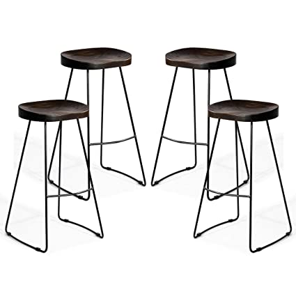 Swell Costway Metal Bar Stools Indoor Outdoor Industrial Backless Counter Height Stools W Square Seat Set Of 4 Wood Machost Co Dining Chair Design Ideas Machostcouk