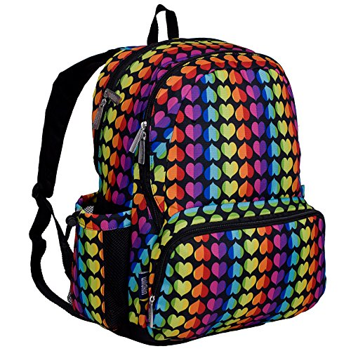 Wildkin 17 Inch Backpack, Durable Backpack with Padded Straps, Three Zippered Compartments, Moisture-Resistant Lining, and Two Side Pockets – Rainbow Hearts