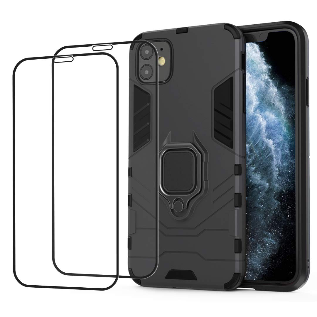 iPhone 11 Case, 6.1 Inch Cell Phone Case with Ring Holder Stand and 2 Pcs Screen Protectors, Shockproof Hard Case Full Protective Case, Fit Car Adsorption Holder Case Cover for iPhone 11