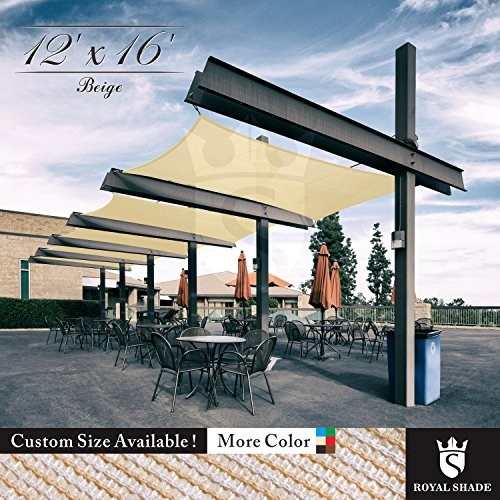 Royal Shade 12 x 16 Beige Rectangle Sun Shade Sail Canopy Outdoor Patio Fabric Shelter Cloth Screen Awning – 95 UV Protection, 200 GSM, Heavy Duty, 5 Years Warranty, We Make Custom Size