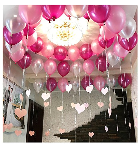 Pearl Balloon Thicked Latex Balloons Party Decor Wedding Birthday Helium Thickening Party Balls (Pink&Red Rose&Silver) 72Pcs/Pack 12 Inch 2.8g ()
