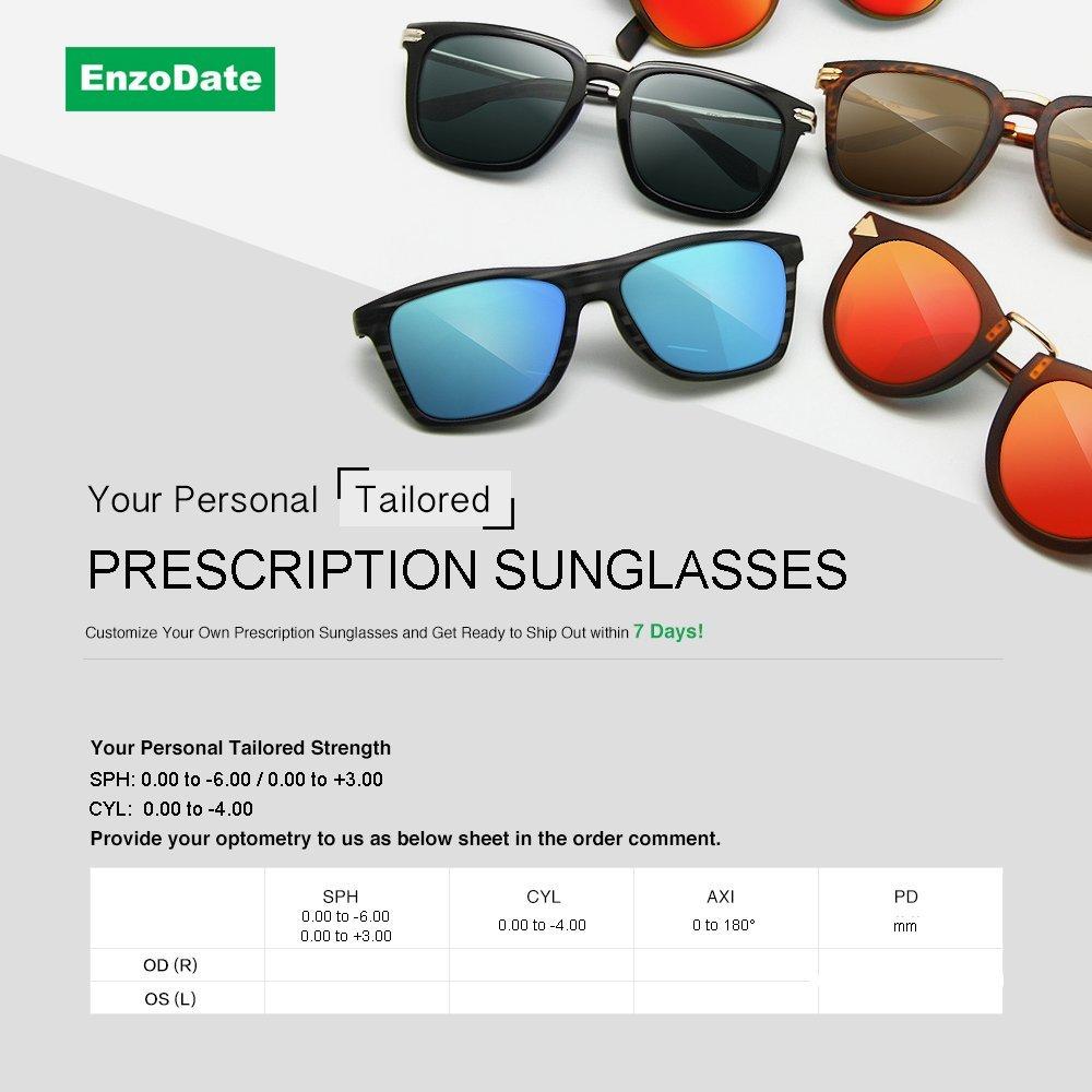 8b270f74d29 Amazon.com  EnzoDate Myopia Hyperopia Sunglasses Any Prescription  Astigmatism