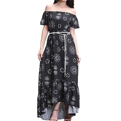 9c6818a846443 Image Unavailable. Image not available for. Colour: Hzjundasi Dress Women's  Off Shoulder Vintage Floral Print Belt Summer Charming Party Maxi Dress