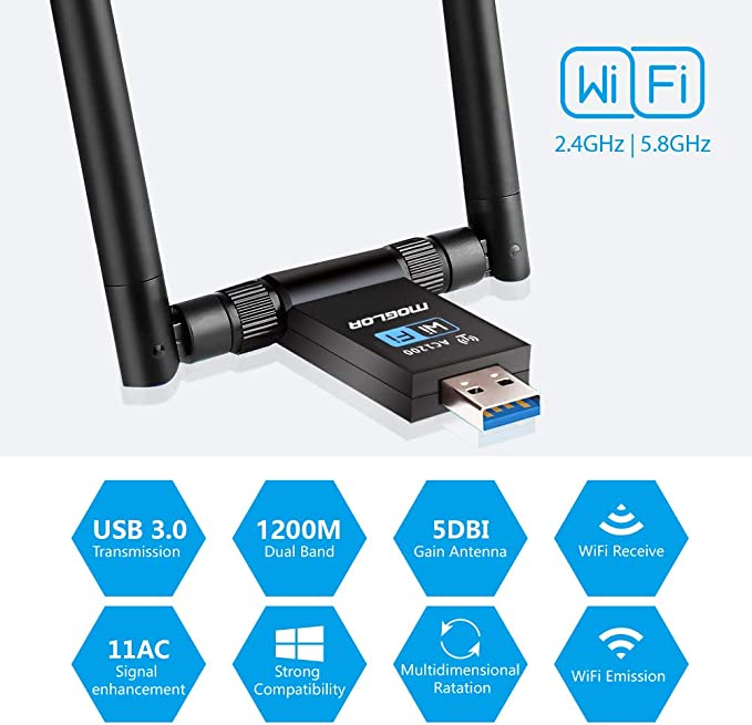 Adaptador Antena WiFi USB 3.0 Dongle Receptor Inalámbrico 1200Mbps Doble Banda 5GHz/867Mbps 2.4GHz/300Mbps Dual 5dBi para PC/Desktop/Laptop Windows ...