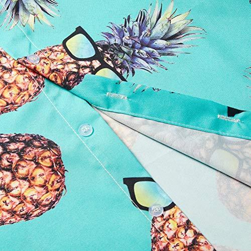 TUONROAD Men's 3D Printed Flower Hawaiian Shirt Casual Tropical Beach Holiday Aloha Short Sleeve Button Down Shirt