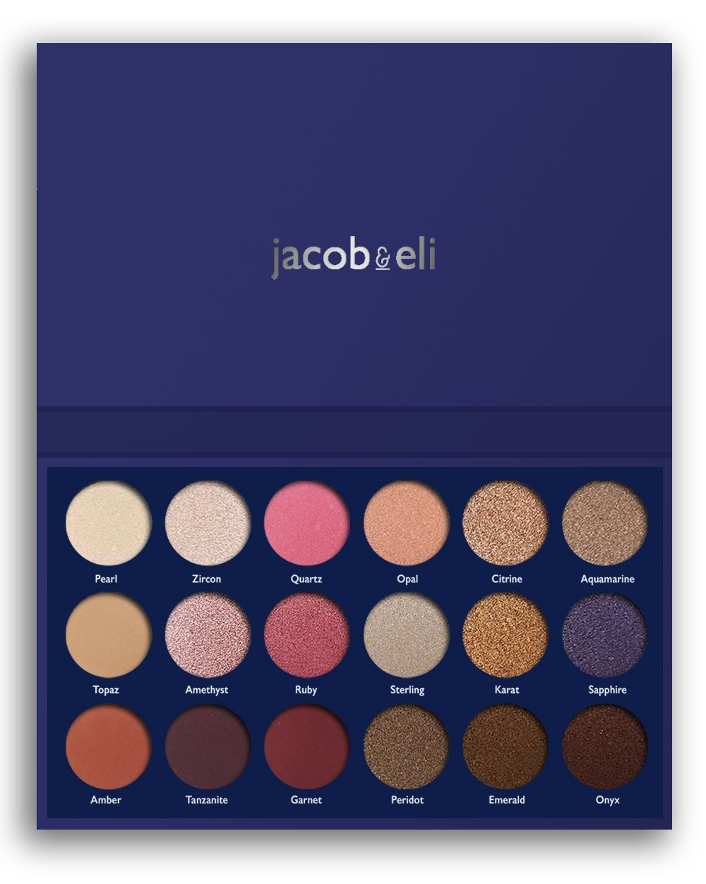 18 Super Pigmented - Top Influencer Professional Eyeshadow Palette all finishes, 5 Matte + 9 Shimmer + 4 Duochrome - Buttery Soft, Creamy Texture, Blendable, Long Lasting (Hidden Gems) by Jacob & Eli