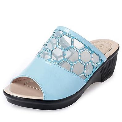 JITIAN Wedge Sandals for Women Thick Bottom Open-Toe Flats Platform Casual Slides