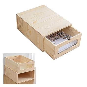 Organizador de escritorio de madera con cajones extraíbles, organizador para archivar archivos, organizador de
