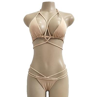 Été Femme Couleur Unie Bikinis 2 Pièces Suit Sexy Push Up Maillots de Bain Unique Bandage Tissé Maillots Deux Pièces