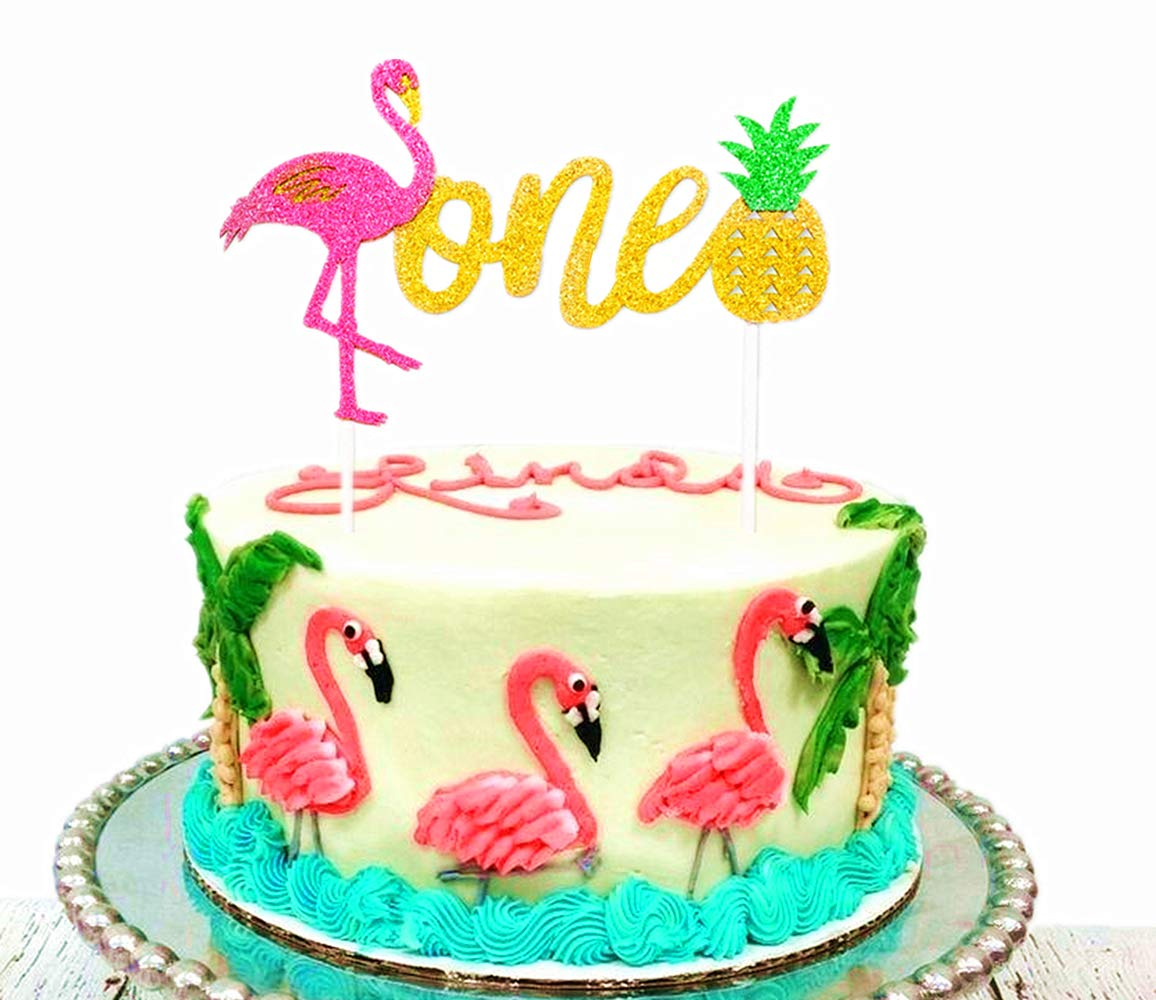 JeVenis Glitter Flamingo Pineapple Cake Decoration1st Birthday Toppers For Baby ShowerTropical Hawaiian Luau Themed Party Suppliesn