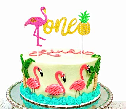 JeVenis Glitter Flamingo Pineapple Cake Decoration1st Birthday Toppers For Baby ShowerTropical Hawaiian Luau Themed Party