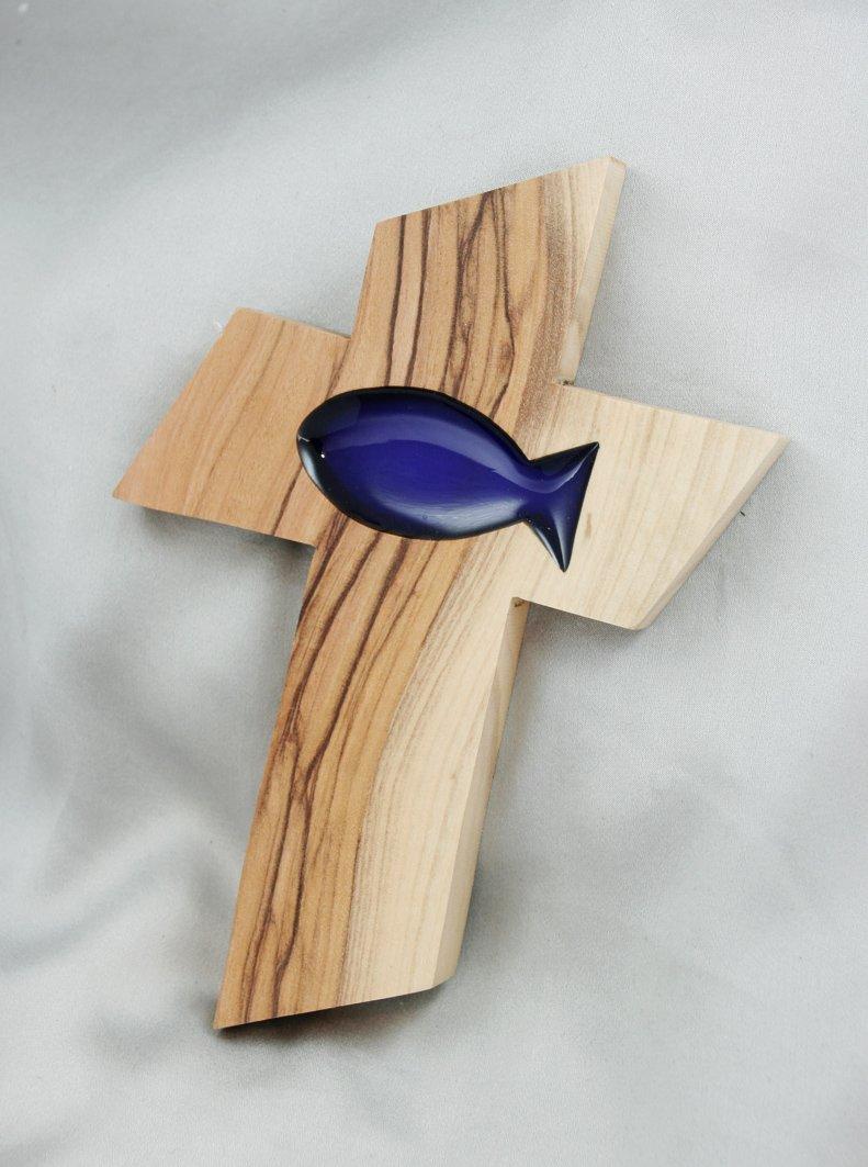Croce in legno di ulivo con pesce blu Taufgeschenke Direkt No Model