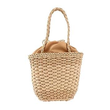 OneMoreT - Bolso de playa para mujer, diseño de paja de verano, marrón: Amazon.es: Instrumentos musicales