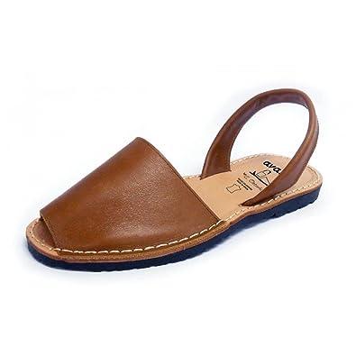 ffe484188b81 Tan Avarcas Menorquinas Ladies Leather Flat Open Toed Sandal Spanish Summer  (EU 36 UK