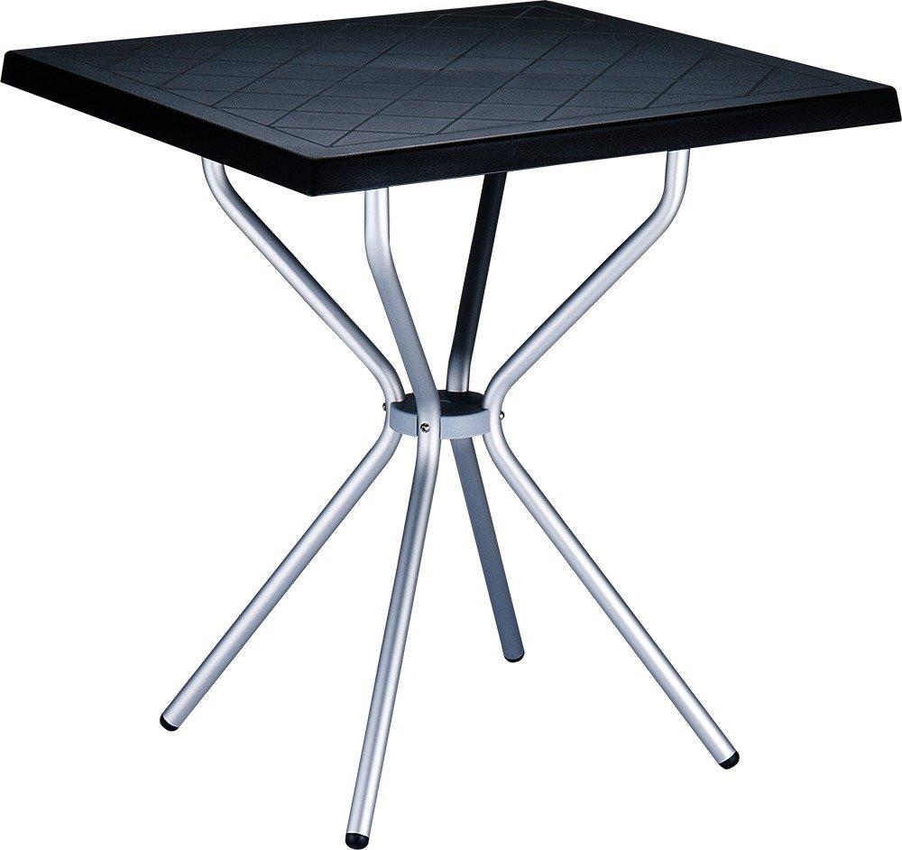 CLP Table de jardin SORTHIE en aluminium - carrée 70 x 70 cm - hauteur 72 cm - en plastique-aluminium - résistante aux
