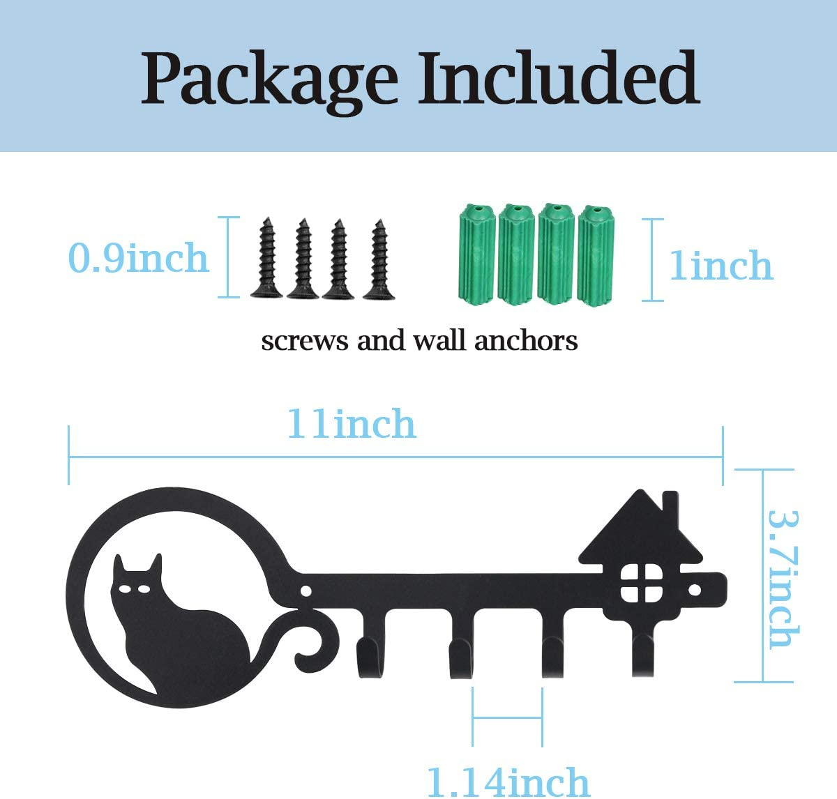 11 inch with 4 Key Hooks Organizer for car or House Keys Key Rack with Screws and Anchors Cat and Home, Black UptoBillions Decorative Wall Mounted Iron Key Holder