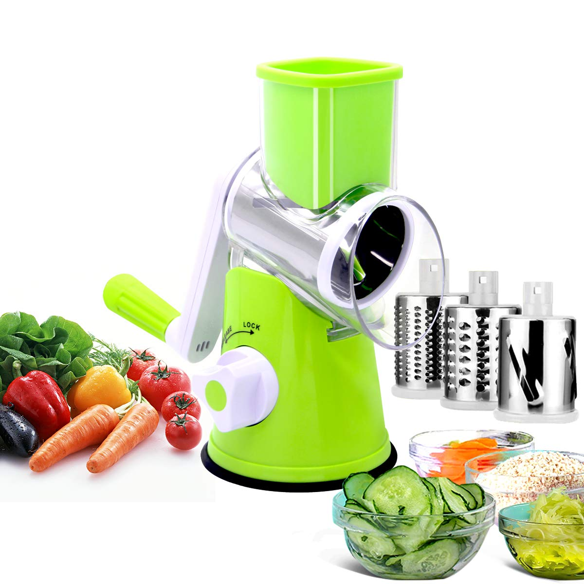 LDK Mandoline Slicer Vegetable Cuber Food Chopper Cheese Cutter - Vertical Rotating Drum Veggie Pasta Salad Maker With 3 Cylinders Stainless Steel Drums (Green)