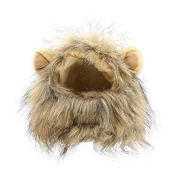 WAXDEOLM Sombrero para Perros/Gatos emulación León Cabello Mane Orejas Cabeza Cap otoño - Invierno Dress Up Costume Muffler Scarf Animal Sombreros,M,Gray: ...