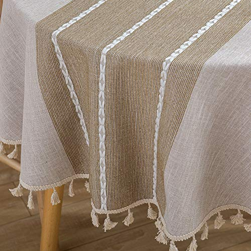 ColorBird Stitching Tassel Tablecloth Heavy Weight Cotton Linen Dust-Proof Table Cover for Kitchen Dinning Tabletop Decoration (Round, 60 Inch, Linen) ()