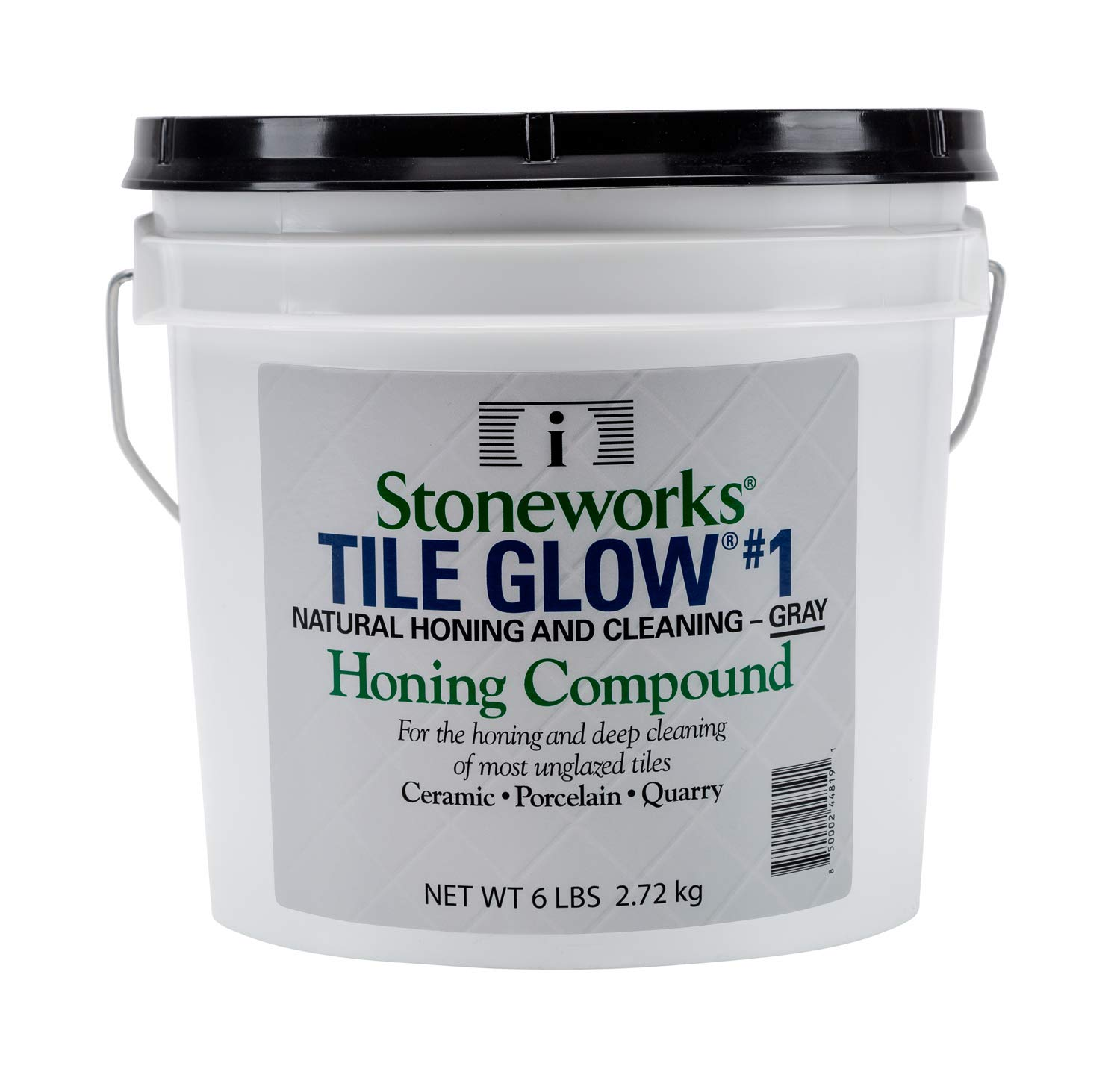 Tile Glow #1 Gray (6 Lb) Natural, Non-Wax Compound for The honing and deep Cleaning of Most unglazed Ceramic, Porcelain and Quarry Tiles