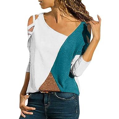 c0754e7d62427 Slim Vetement Femme Pas Cher a la Mode Mélange de Coton Tee t Shirt Manche  Longue