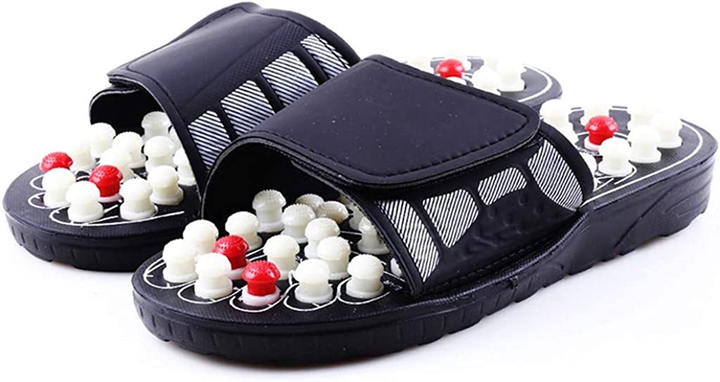 Acupressure Massage Slippers with Earth Stone RQWEIN Therapeutic Reflexology Sandals for Foot Acupoint Massage Arch Pain Relief
