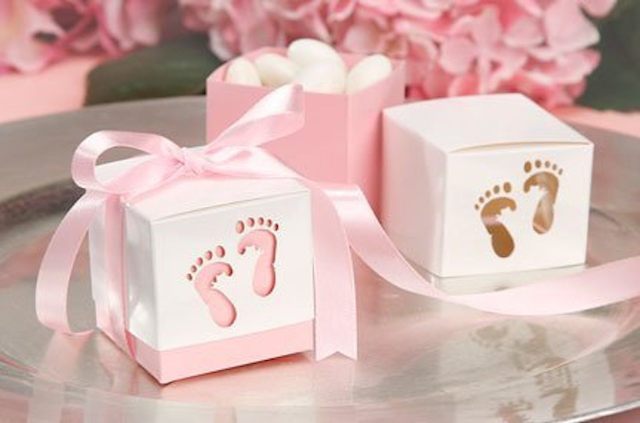 Amazon.com: Pink Baby Shower Box Kit for Baby Girl with Baby Feet ...