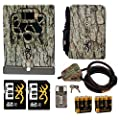 Browning Trail Cameras Accessories Kit: Security Box w. Cable Lock, Battery Pack, w. AA Batteries, and 2 Cards