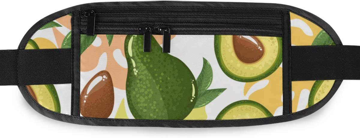 Avocado Pattern Avocado Slices Exotic Running Lumbar Pack For Travel Outdoor Sports Walking Travel Waist Pack,travel Pocket With Adjustable Belt