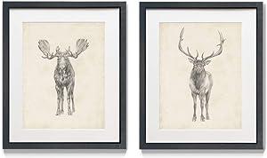 Renditions Gallery Moose & Deer Sketch 2 Piece Framed Artwork Set, Wildlife, Hunting, Camp Decor, Game Wall Art, Black Matte Frame, White Mat, Plexiglass, 16 in W X 20 in H, Made in America