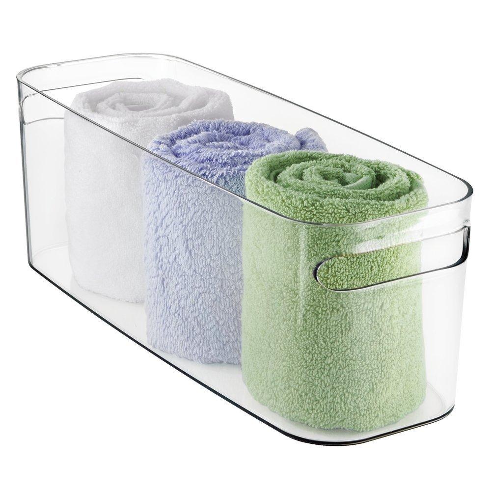 mDesign Bathroom Bathroom Accessories Organiser Bin for Health and Beauty Products/Supplies, Towels - 40.6cm x 15.25cm x 15.25cm - Clear MetroDecor 1660MDBA