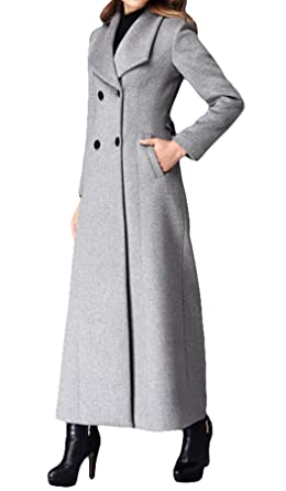 6e442f10897 Women s Double-breasted coat cashmere coat Long Trench Coat Woolen coat (US  ...