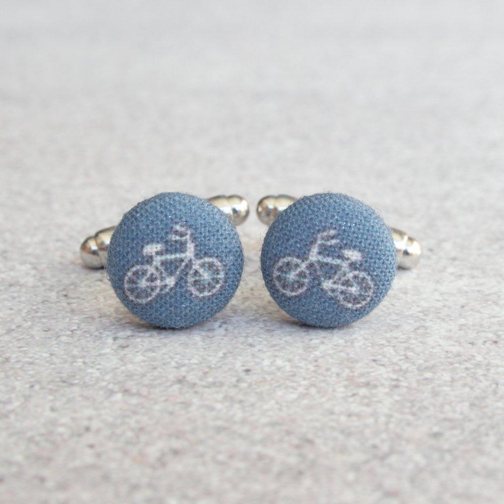 Navy Bikes Fabric Button Cufflinks