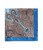 Bloomingdales Mens Paisley Pocket Square Blue Short