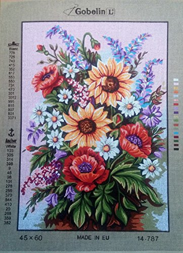 ASSORTED FLOWRS IN A VASE NEEDLEPOINT CANVAS