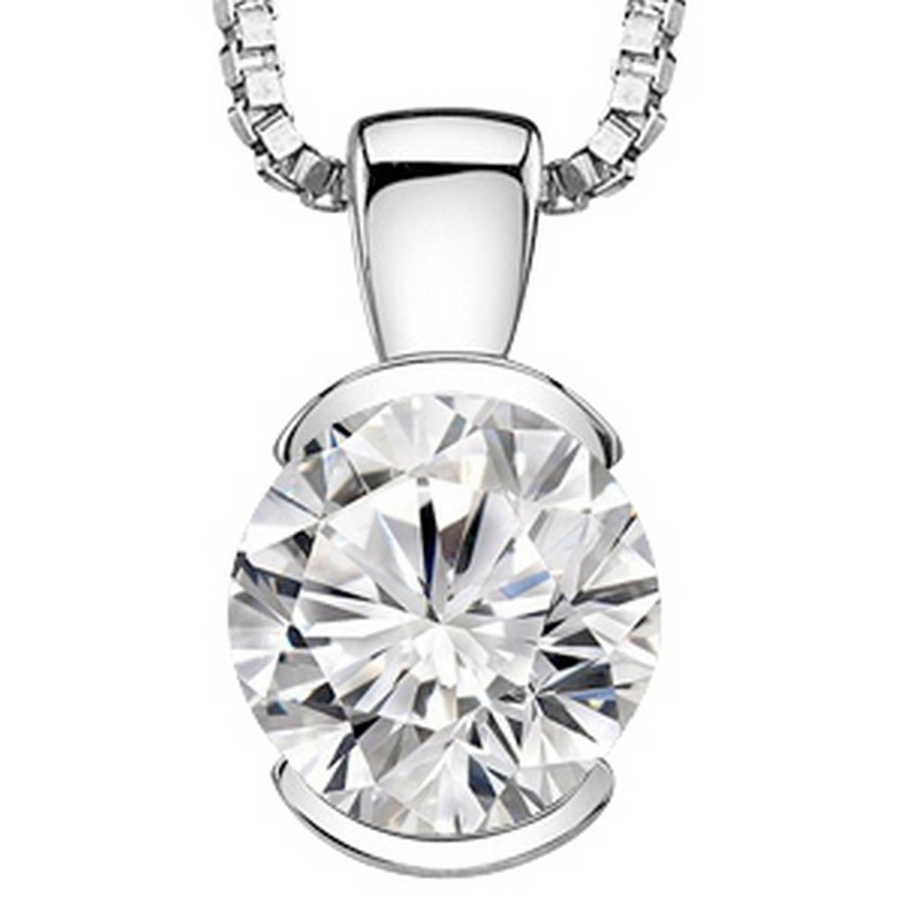 1 Carat 14K White Gold Round Diamond Solitaire Pendant Necklace Half Bezel I-J Color SI2-I1 Clarity