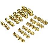 Mmei 24 Sets Sam Browne Solid Brass Button Studs Rivets Screwback Screw Back Spots for DIY Leather Craft Belt Purse Handbag and More (4 Sets per size)