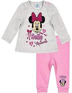Minnie Coffret Salopette Velours et T-Shirt bébé Fille Blanc et Rose ... bed7874953b