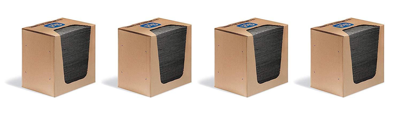 New Pig Mat Pads in Dispenser Box - 100 Absorbent Mats - 12 Ounce Absorbency - 13'' x 10'' - MAT251 (4 X Pack of 100)