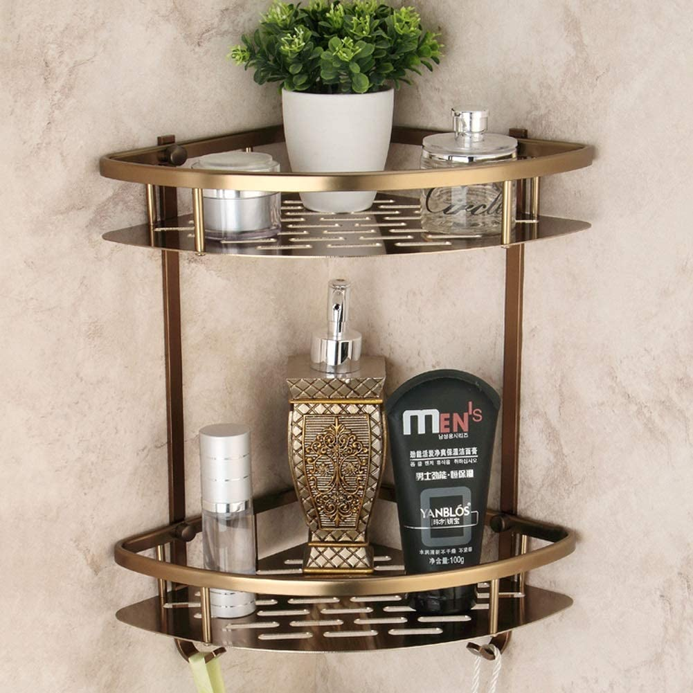 laiton Premium /étag/ère de coin pour salle de bain /à 2 niveaux avec crochets Organisateur de douche mural triangulaire panier de douche antirouille 23 /× 23 /× 36 cm