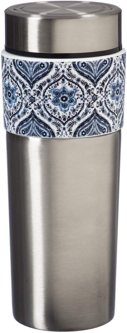 Cypress Home Tandem Double Wall Stainless Steel and Ceramic Cup Tumbler, 17 OZ in Blue Bloosom Array