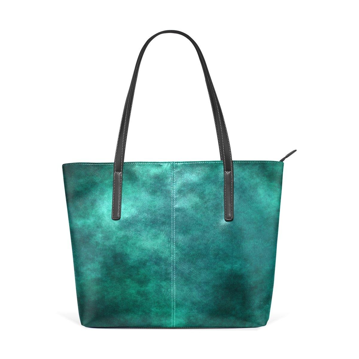 Womens Leather Top Handle Shoulder Handbag Art Sky Large Work Tote Bag