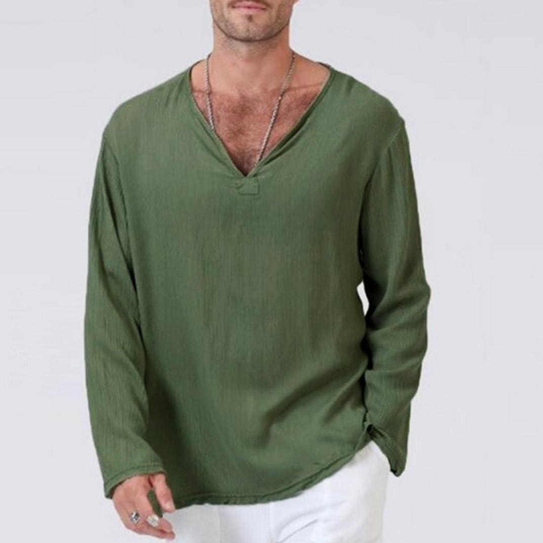 Mens Chinese Style Printed T Shirts Long Sleeves Linen Loose Yoga T Shirt Blouse