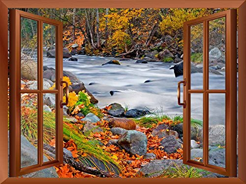 Copper Window Looking Out Into a Rocky River Surrounded by Trees Wall Mural