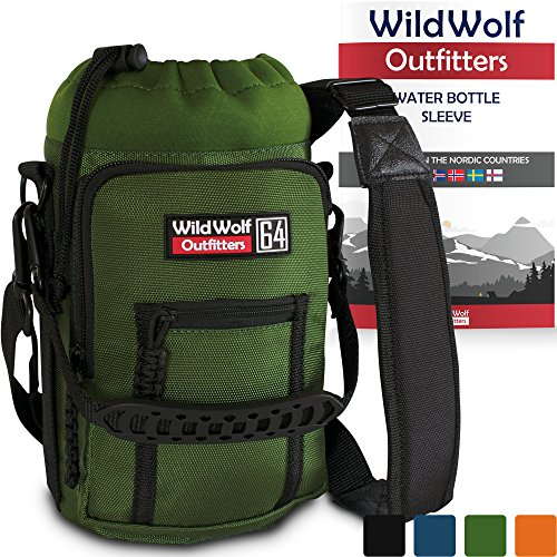 Wild Wolf Outfitters Water Bottle Holder for 64oz Bottles by Green - Carry, Protect and Insulate Your Best Flask with This Military Grade Carrier w/2 Pockets & an Adjustable Padded (Green Rambler Backpack)